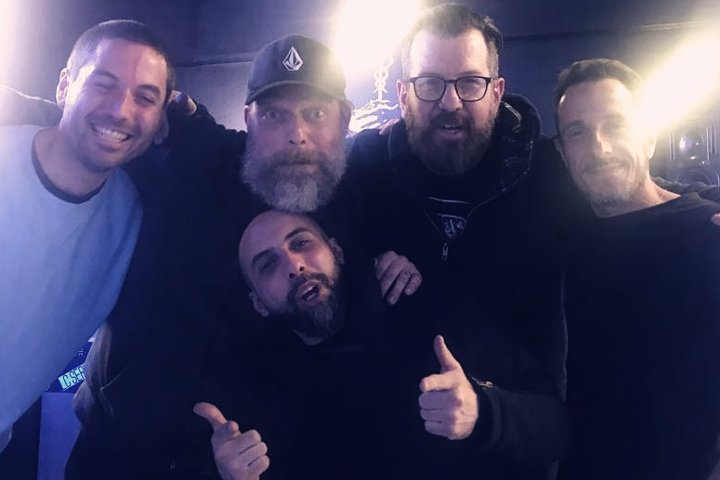 Jam-On junto a Orbe, Zadig, Mariano Blanco y Xhei en el showcase de Under Club en Madrid